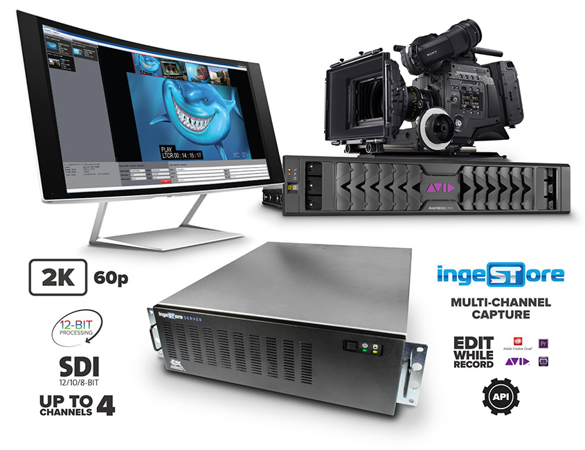 IngeSTore Server 3G. Up to 4 channels. 2K 60p. 12-bit Processing. 12/10/8-bit SDI I/O.